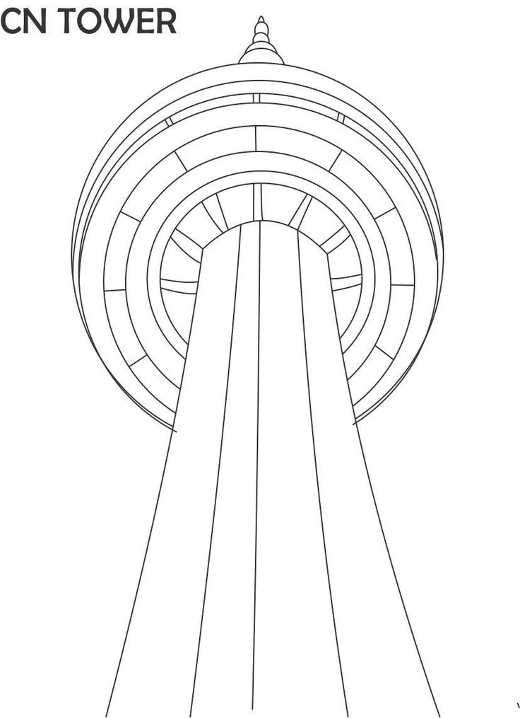 CN Tower Printable Coloring Page For Kids
