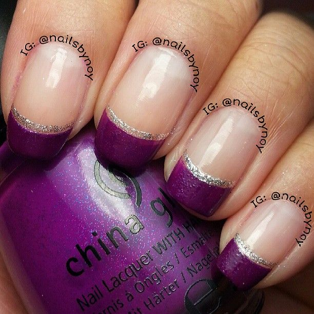 One Line Nail Art : Best ideas about purple french manicure on pinterest