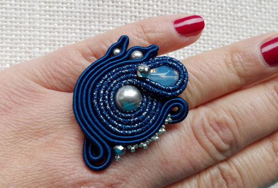 RING SWAN soutache ring adjustable ring handmade by MuciddosBeads