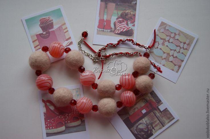 """Купить Бусы """"Lollipop"""" - бледно-розовый, леденец, конфетка, сладость, подарок, подарок подруге, бусы"""