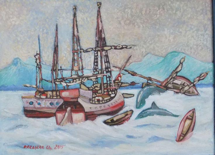 Picturi de Gheorghe Parascan | Furtuna in port | Boutiq Art