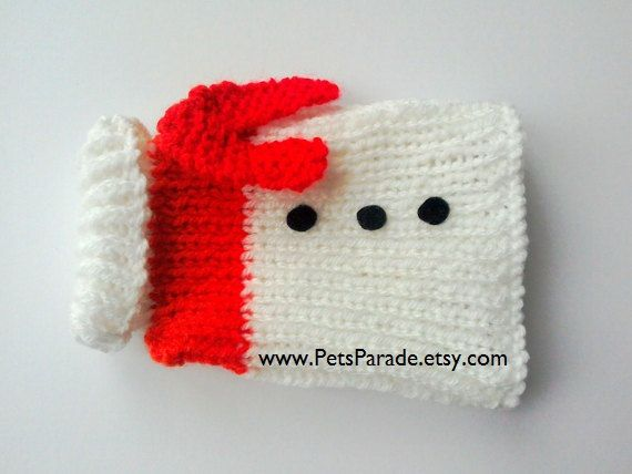 Snowman Christmas Dog Sweater, Dog Jumper, Tiny Dog Clothing - White Holiday Pet Sweater, Father Christmas Pet Outfit