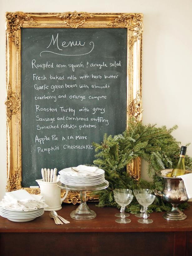 DIY Menu Board: Gilt frame surrounds a chalkboard. Inexpensive and easy to make! http://www.hgtv.com/handmade/how-to-make-an-ornate-framed-chalkboard/index.html?soc=pinterest