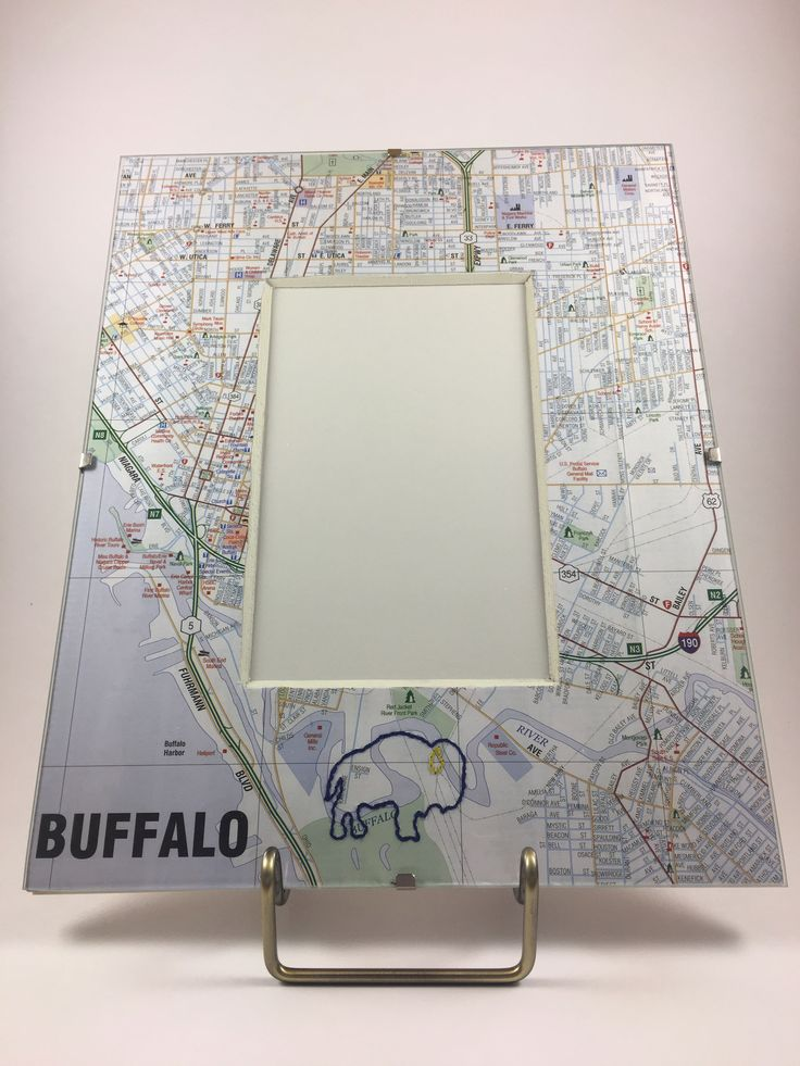 Hand-stitched Blue & Gold Buffalo Map Frame