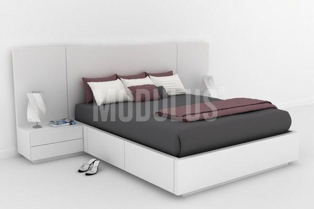 Juego de Dormitorio, laqueado, lustrado, enchapado en madera, diseño moderno, minimalista