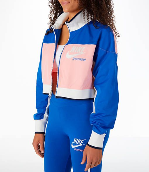 Front Three Quarter view of Women s Nike Sportswear Archive Cropped Track  Jacket in Bleached Coral 70a7390e63