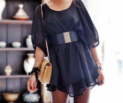 cuteChanel Bags, Flowy Dresses, Style, Closets, Flow Dresses, The Dresses, Black, Chanel Fashion, Belts