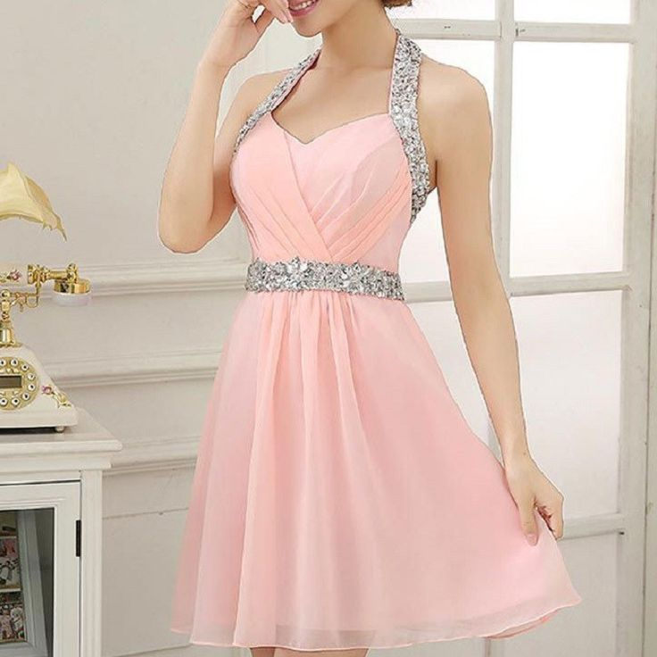 A-line Halter Sleeveless Chiffon Beaded Pink Homecoming Dresses,Hot 04