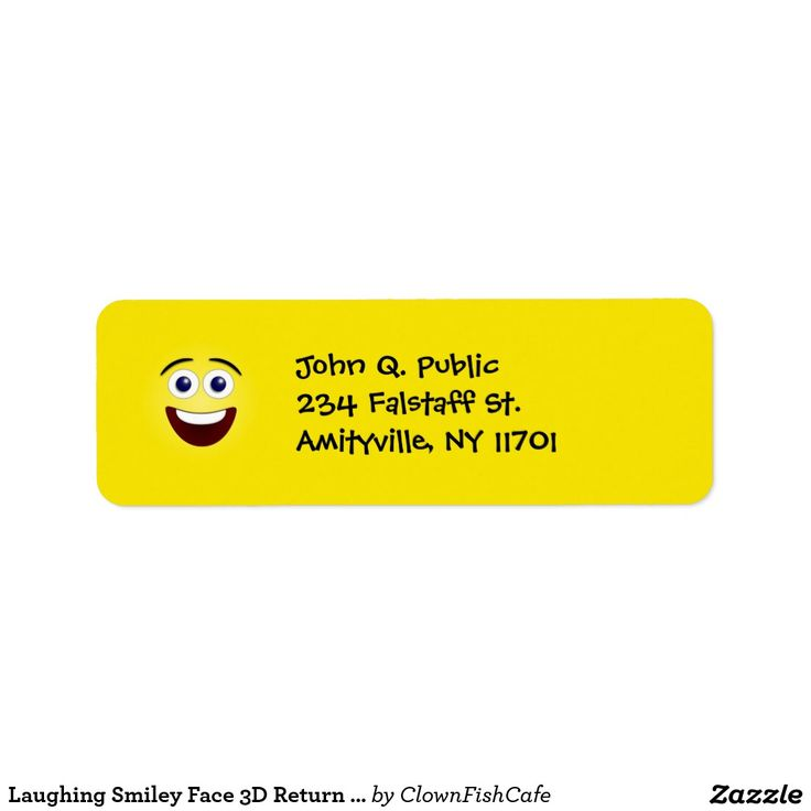 Laughing Smiley Face 3D Return Address Labels - These yellow laughing smiley face return address labels are sure to put a smile on someone's face! Personalize them with the name and address of your choosing.
