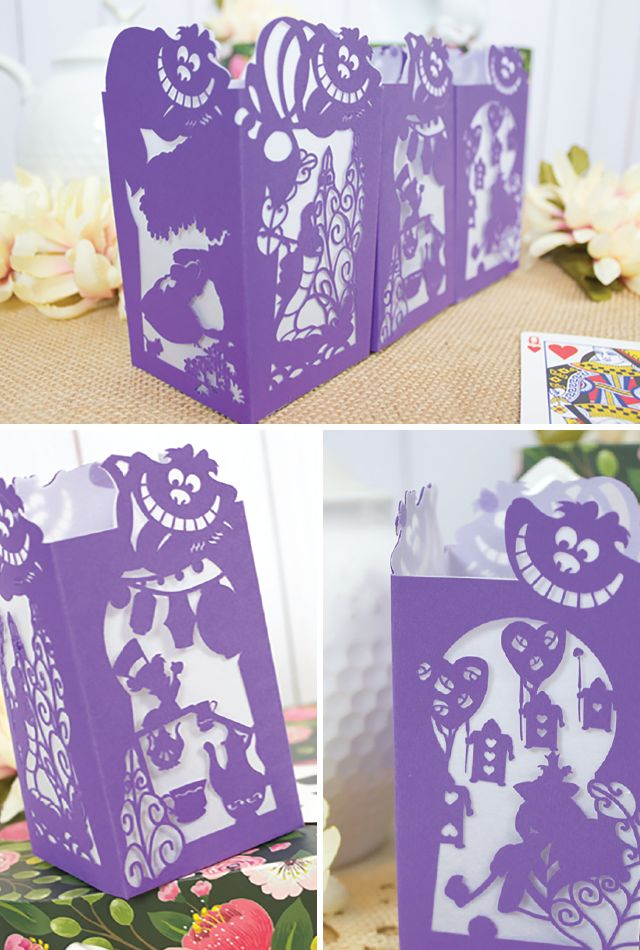 Alice in Wonderland Paper Lantern - Designs By Miss Mandee. Watch the Cheshire Cat disappear, take part in a mad tea party, and play a rousing game of croquet in this Disney paper lantern design! Download the SVG cut file and pdf template for FREE!!