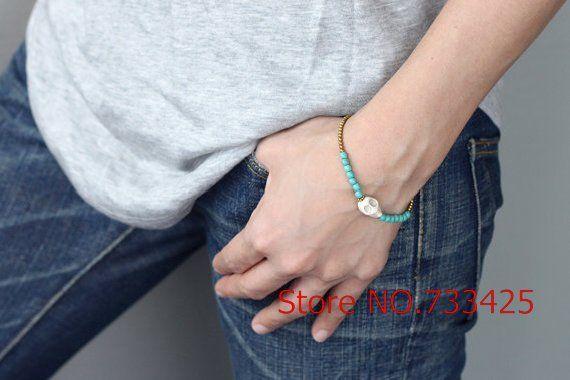 Бирюза маленький череп кулон браслет с вощёная шнур соломы соткан, Тайский стиль латунь браслет для женщины, 5 шт. pcs/lotsкупить в магазине INIKIнаAliExpress