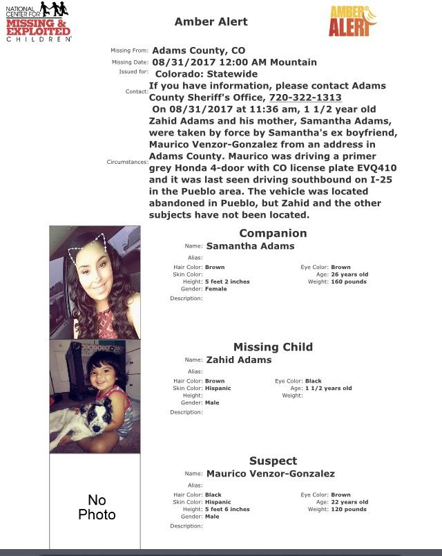 CO AMBER Alert, 8/31/17. CAUTION ADVISED. Adams county. Vehicle located in Pueblo. CO. | AMBER Apartment Alerts