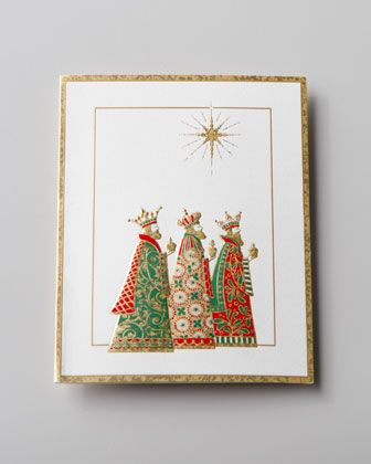 """""""Three Wise Men"""" Embossed Christmas Cards by Caspari at Horchow."""