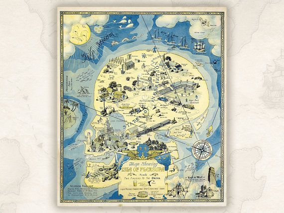 Fantasy Map showing the Isle of Pleasure 1931.Funny map