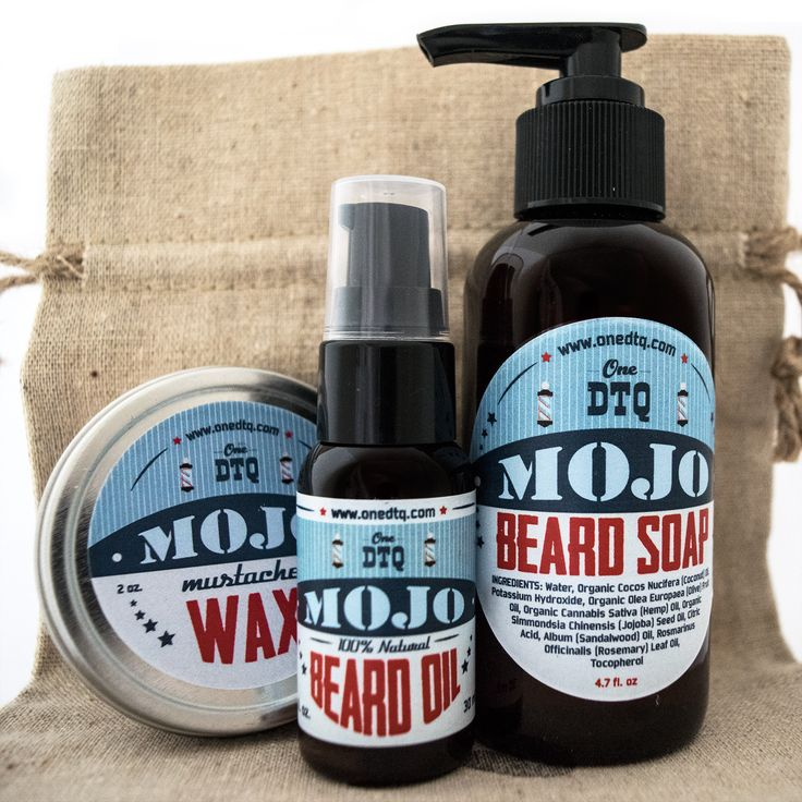 MOJO Beard and Mustache Care Kit: beard wash (4 fl oz) , beard conditioning oil (1 fl oz) and mustache styling wax (2 fl oz)