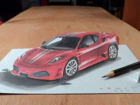 "Trick art on paper. How to draw a realistic Ferrari. Artistic graphic.<br />Mixed media.<br />Materials used: <br />Pastell paper: light gray.  <br />H graphit pencil (Derwent) <br />Markers: Letraset PROMARKER <br />Black and white charcoal pencil.<br />White gel pen.<br />Grey Stabilo marker 0,4.<br />Black Faber - Castell pen 0,7. <br />Soft eraser.<br />Music: <br />Accidents Will Happen - Silent Partner.<br />For sale: <a href=""http://vamosart.deviantart.com/gallery/"" target=""_blank""…"