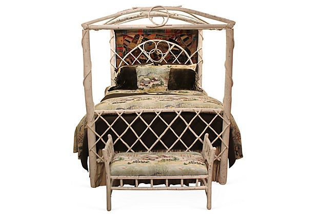 Rustic Canopy Bed, Queen on OneKingsLane.com Handcrafted in Pennsylvania using hickory saplings, this canopy bed makes a bold but inviting statement. Features oak side rails and a white finish.