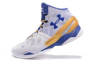 d1fca34084a Mens Under Armour Steph Curry 2 Championship White Gold Blue Basketball  Shoes