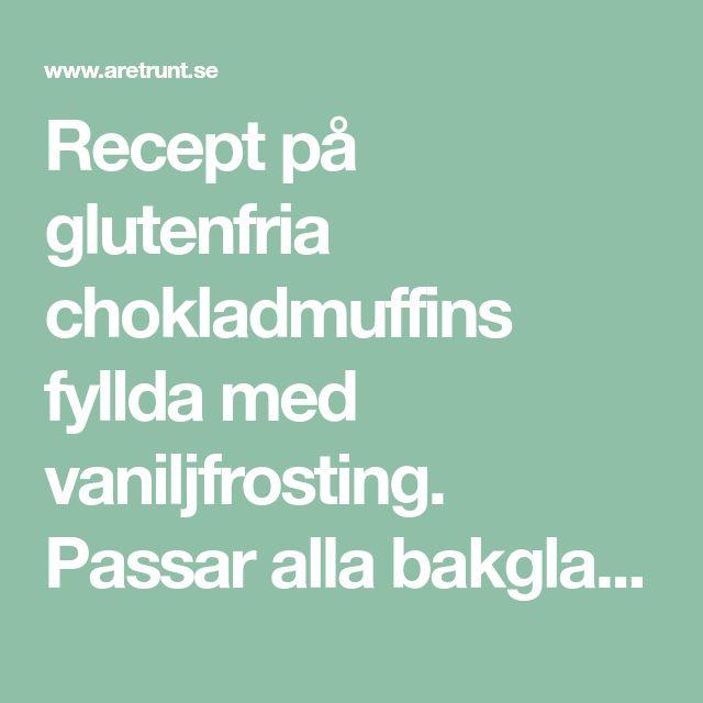 Recept på glutenfria chokladmuffins fyllda med vaniljfrosting. Passar alla bakglada laktos-, glutenintoleranta och de som har IBS-mage.