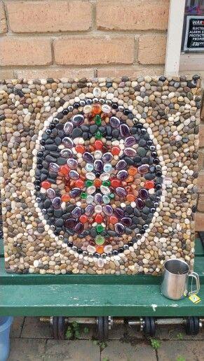 Pebble mosaic wall panel