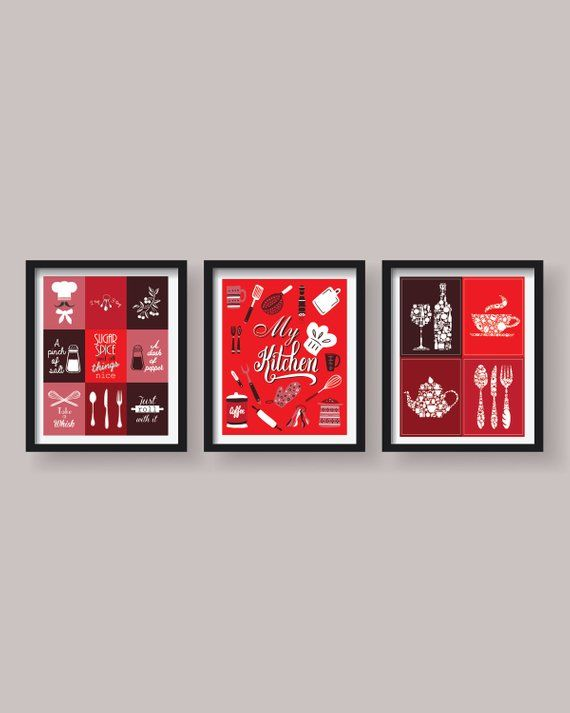 Red Kitchen Decor Red Kitchen Wall Art Kitchen Prints Kitchen Etsy Kitchen Wall Art Red Kitchen Walls Red Kitchen Decor