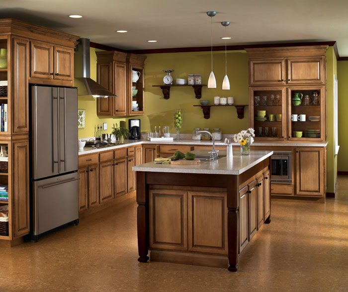 Green Kitchen Walls With Maple Cabinets