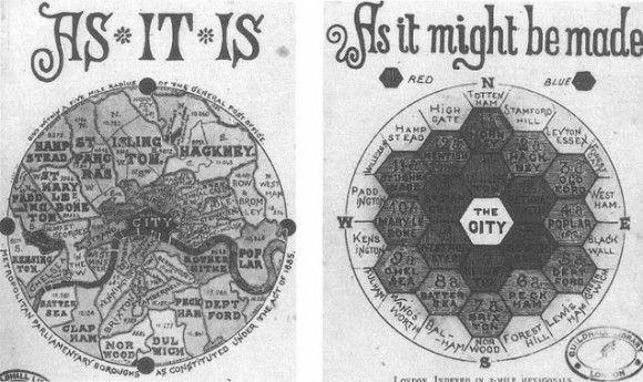 ハチの巣の形に表した理想的なロンドンの夢:1865年、ジョン・レイトン作。