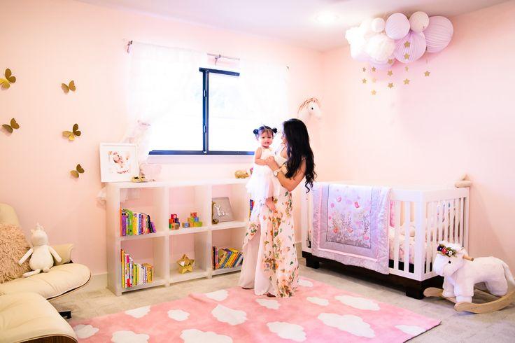 toddler girl unicorn butterfly pink nursery, unicorns crib rocker pom poms diy