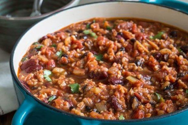 Vegan Chili - no jalapeno and used same portion of Fleekah in place of bulgar. Added a can and a half of vegetable broth. Yum! - ate with Matzah crackers.