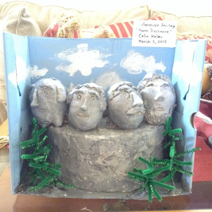 Mt. Rushmore. Clay, pipe cleaner, shoe box, acrylic paint ...