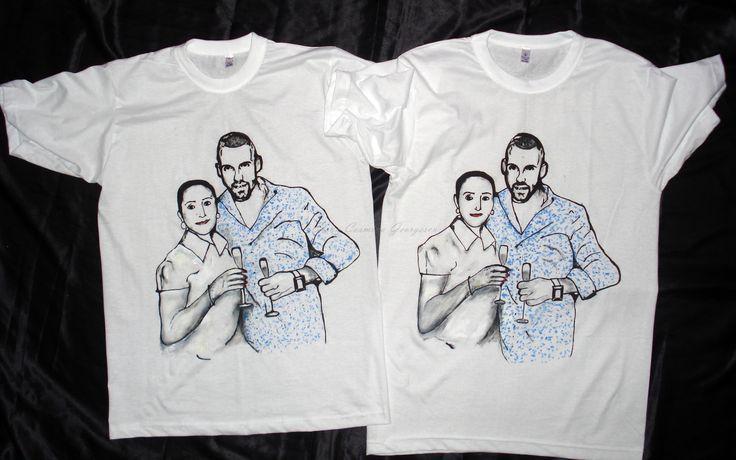 Elena Cosmina Georgescu- Haine De Inimă Tricouri pictate (shirts painted) pe bumbac 100%, rezistente la spălare 40 grade sau manual. Pentru detalii răspund în privat, mulţumesc! Gând bun!