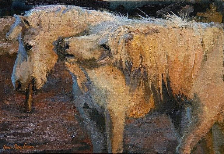 'Simple Things' two horses playing over a stick. #oilpaintings #camarguehorses #equestrianart #fineart #contempraryart #contempraryartists #pin