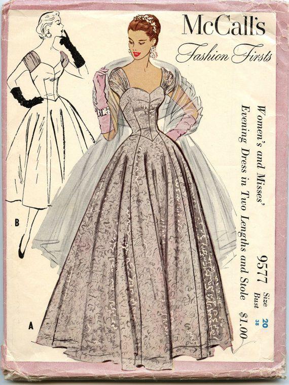 los años cincuenta costura vintage patrón M4769 9577 moda primicias vestido en dos largos y robaron busto 38