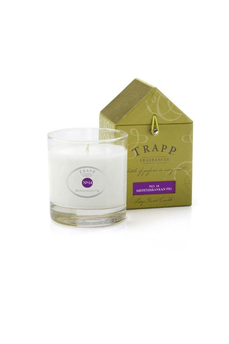 Mediterranean Fig - 7oz. Poured Candle: Fig is big! Sophisticated and fruity, reminiscent of a fresh fig ripened in the warm Tuscan sun. 7 ounce poured candle in glass. Approximately 50-hour burn time. Paper/cotton, zinc-free wicks. Packaged in the gift-worthy house box. Mediterranean Fig by Trapp Candles. Home & Gifts - Home Decor - Candles & Scents Palm Beach, Florida