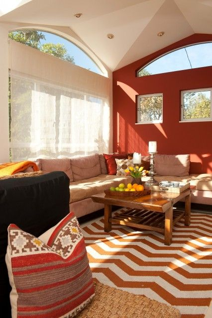Warm Vibrant And Sunny Living Room Or Media Alcove Via