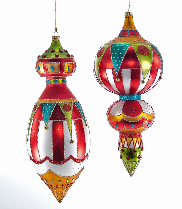 """Katherine's Collection Noel Christmas Collection Set Two Assorted  11"""" Noel Glass Finial Ornaments Free Ship"""
