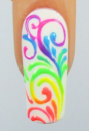 Concept - multi coloured swirls nail art on white nails