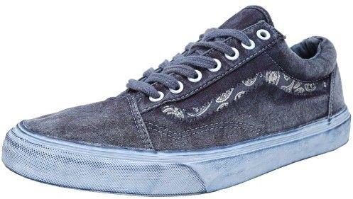 Vans Old Skool Reissue + Overwash Paisley Dress Blues Ankle-High Canvas Fashion Sneaker - 10M / 8.5M