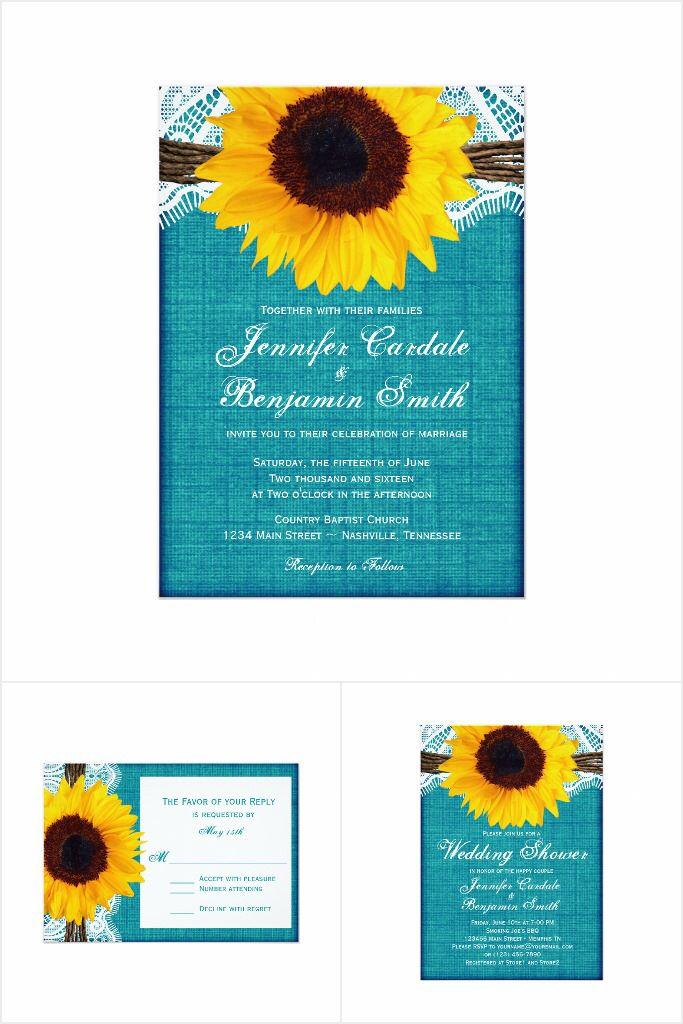 Teal Sunflower Wedding Invitation Set: