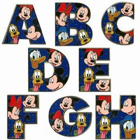 Alfabeto de Mickey, Minnie, Donald y Pluto.