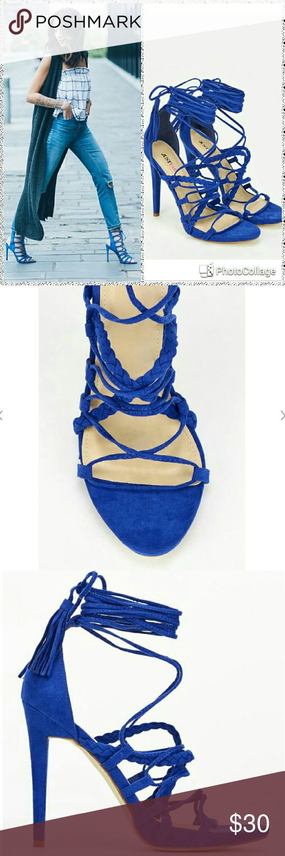 JustFab Chancy Royal Blue Strap up Heels JustFab Chancy Royal Blue Strap up Heels   Beautiful shoes I love them but they run small  I only worn them once but they just did not work out for me ;(   They are gorgeous and  super sexy   Heel is 4 in   I'm usually a size 7 1/2 they are size 8 bUT I will say they are more like a 7   LOWER PRICE ($25.00)  IN ♏ECARI  USE MY PROFILE NAME StylinIsMyPassion36  and use code QJDWCT JustFab Shoes Heels