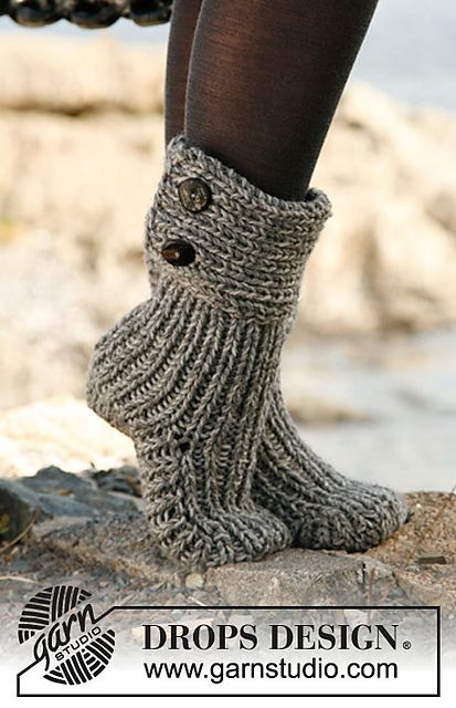 """""""Moon Socks"""" - Slippers in 2 strands """"Nepal"""" pattern by DROPS design  Time to start Christmas knitting~!"""