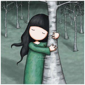 Tekening. Knuffel een boom op canvas.