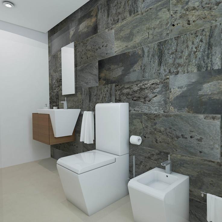 Baño diseñado por Fábrica de Arquitectura para una vivienda unifamiliar en Sevilla. Tanto los materiales como los aparatos sanitarios son de Porcelanosa.