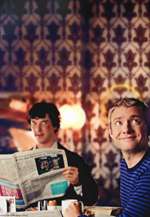 John Watson (Martin Freeman) and Sherlock Holmes (Benedict Cumberbatch) - Sherlock