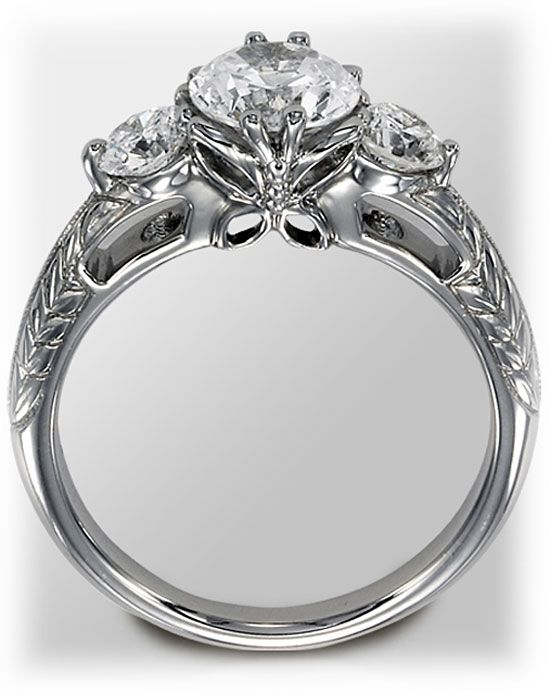 love the butterfly on this want something like that in the future less detailing engagement ring - Butterfly Wedding Rings