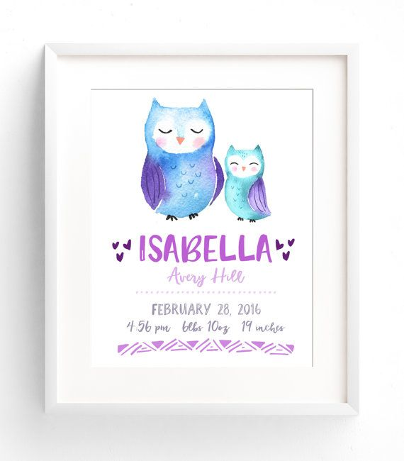 Custom Birth Stats Wall Art - Watercolor Nursery Decor - Woodland Animals Birth Announcement - Owl Nursery - Girl or Boy Nursery Art  Customize your nursery wall art with your babys name, birthdate, weight, length, and time of birth. This art print features a beautiful watercolour owl mom and baby. Available in 8x10, 11x14, and 12x16.  Perfect as a gift for new parents, or as a finishing touch to your childs bedroom!  Printed on Matte Photo Supreme paper, using HP Vivera pigment inks, which…