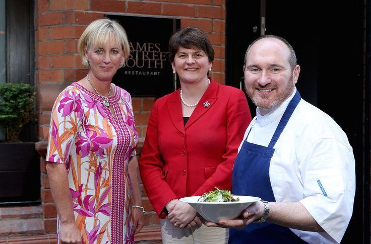 Heather Hedley, Arlene Foster & chef, Niall McKenna launch the James Street South apprentice programme Read more http://www.lkcommunications.co.uk/youre-hired-james-street-south-launches-apprentice-programme/