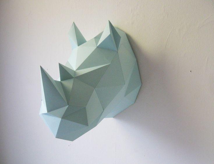 troph e origami en papier rhinoc ros menthe deco parement mural origami et d co murale salon. Black Bedroom Furniture Sets. Home Design Ideas