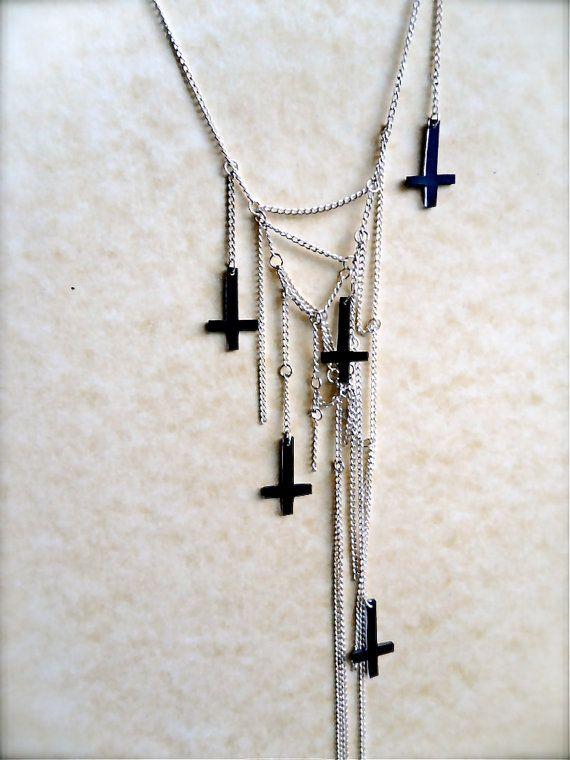 multi strand tiny dark inverted upside down cross by TheTamerlane, $35.00